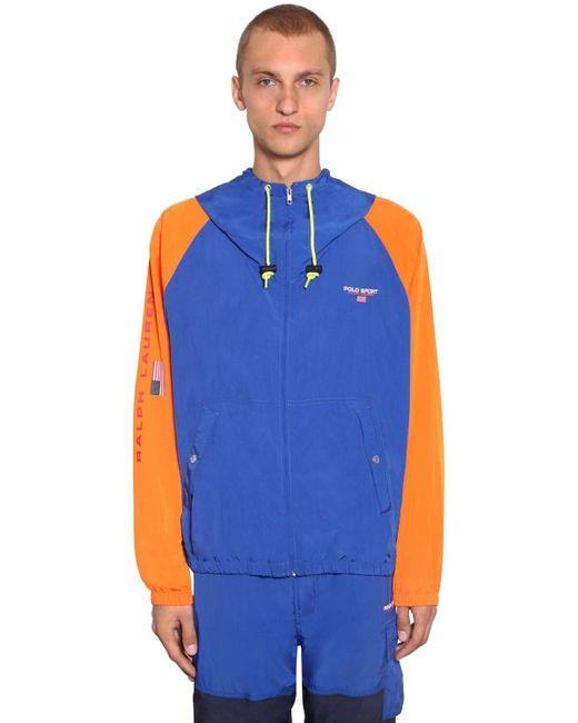 メンズ Polo Ralph Lauren フード付きナイロンジャケット Blue