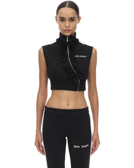 Palm Angels Black Cropped Techno Jersey Top