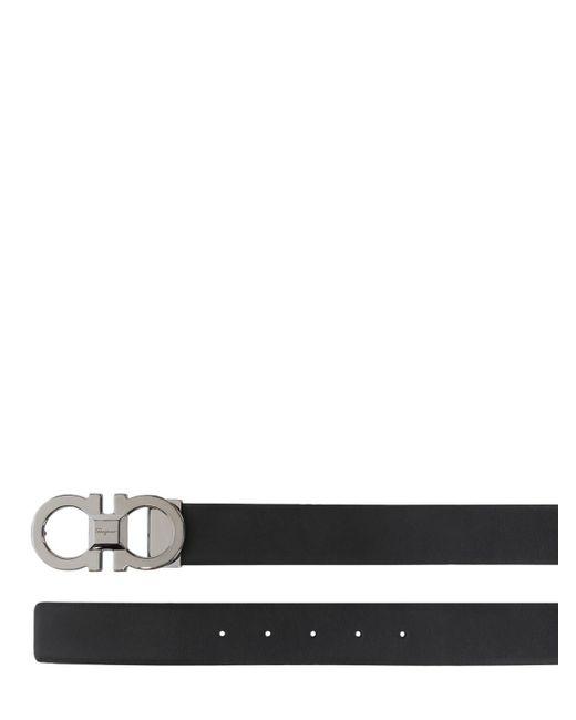 メンズ Ferragamo リバーシブルレザーベルト 3.5cm Black