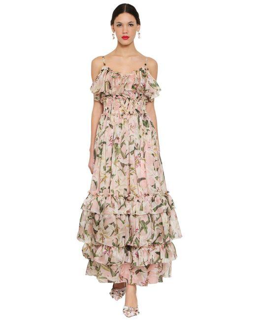 Dolce & Gabbana シルクオーガンザ ロングドレス Multicolor