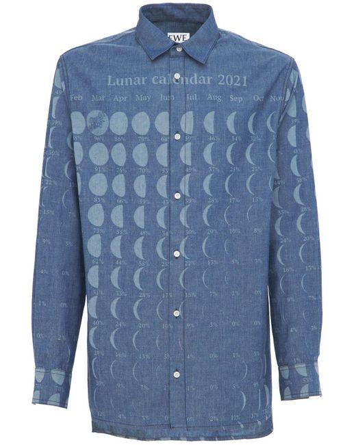 メンズ Loewe Paula Moon Calendar コットンシャツ Blue