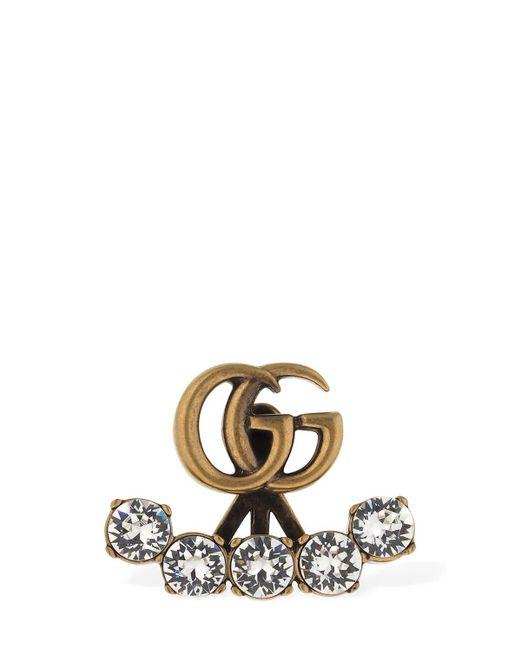 Gucci Gg Marmont クリスタルシングルピアス Black