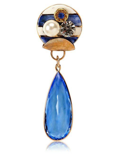 Sonia Boyajian   Blue Gypsy Zircon And Gold Plated Pin   Lyst