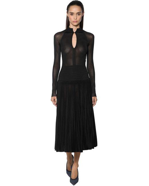 Victoria Beckham プリーツシアーニットドレス Black