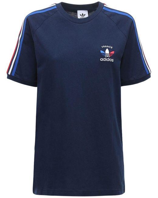 Adidas Originals 3-stripes France Tシャツ Blue