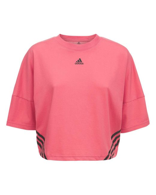 T-shirt Cropped In Misto Cotone di Adidas Originals in Pink