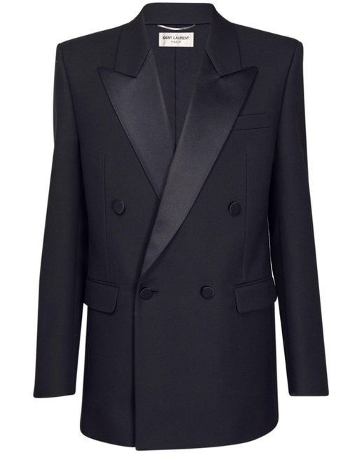 Жакет Из Шерстяной Саржи Saint Laurent для него, цвет: Black