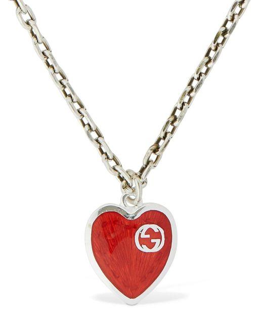Collier Pendentif Coeur En Cristaux Gucci en coloris Metallic