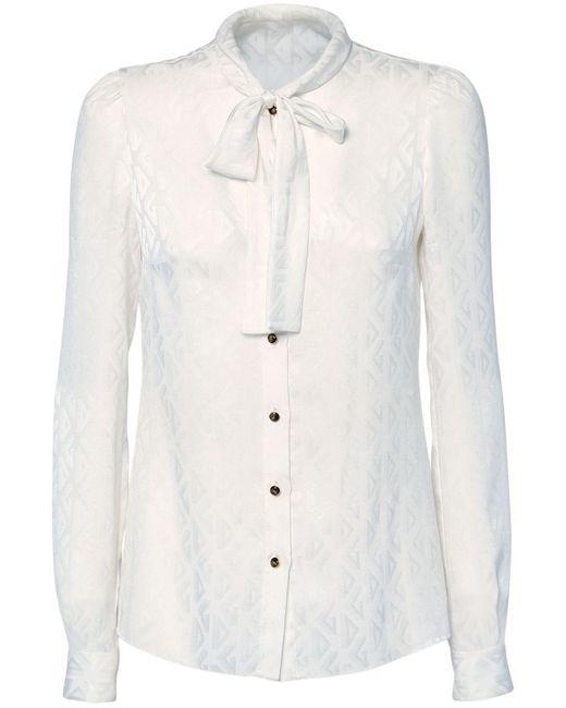Dolce & Gabbana ジャカードロゴシルクシャツ White