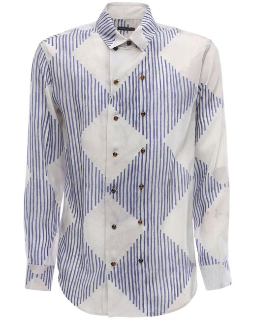 Рубашка Из Купро С Принтом Giorgio Armani для него, цвет: Blue
