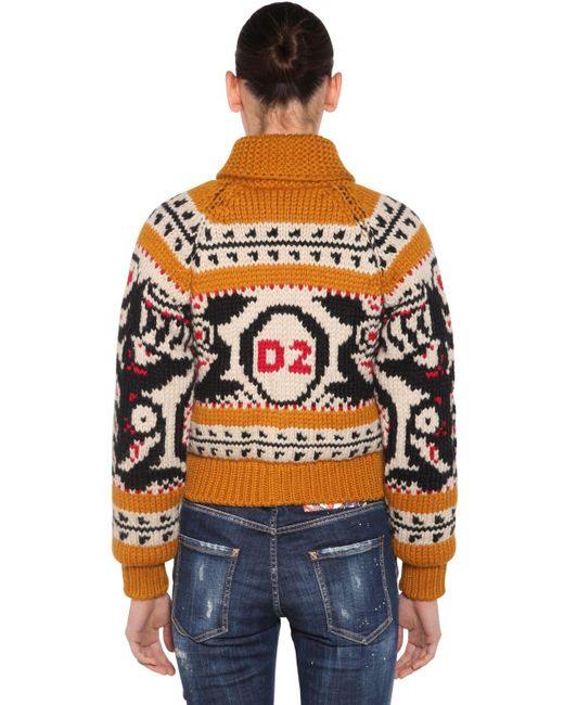 DSquared² Multicolor Pullover Aus Wolle Und Mohair