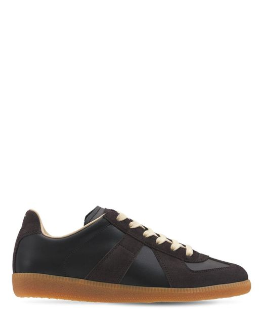 Кроссовки Из Кожи И Замши 20мм Maison Margiela, цвет: Black