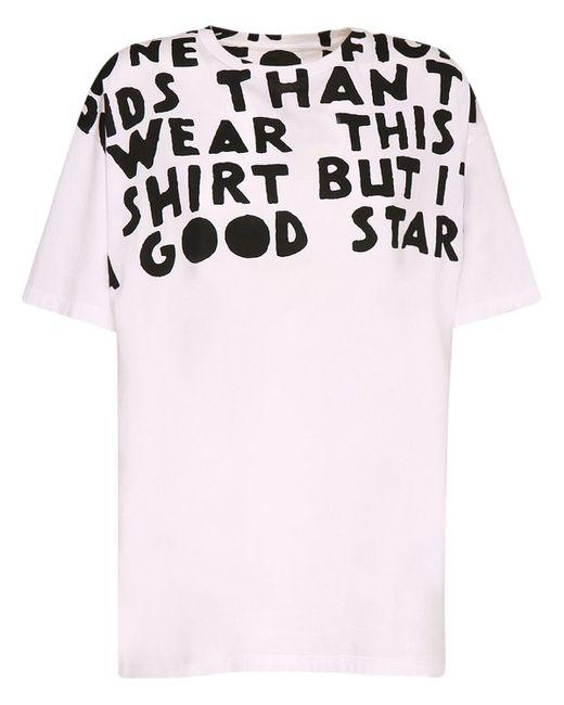 Maison Margiela White Oversized-T-Shirt mit Slogan