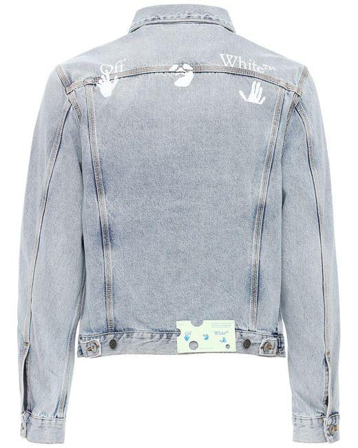 Куртка Из Хлопкового Деним С Логотипом Off-White c/o Virgil Abloh для него, цвет: Blue