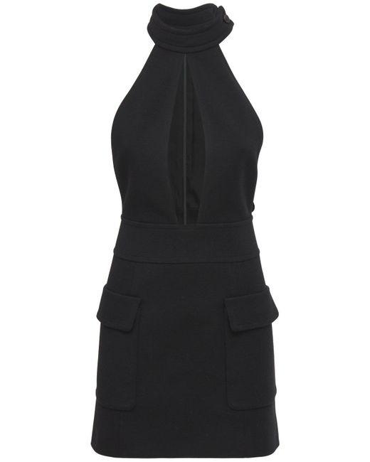 Мини-платье Из Шерсти С Вырезом Saint Laurent, цвет: Black