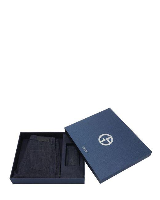 メンズ Giorgio Armani スリムジーンズ&サングラスギフトボックスセット Blue