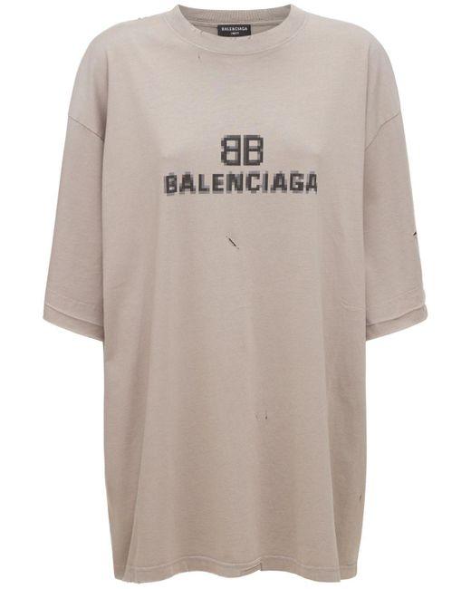 Футболка Из Хлопкового Джерси Balenciaga, цвет: Gray