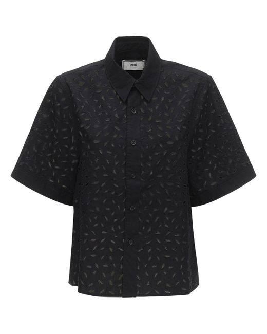 AMI アイレットレースコットンポプリンシャツ Black