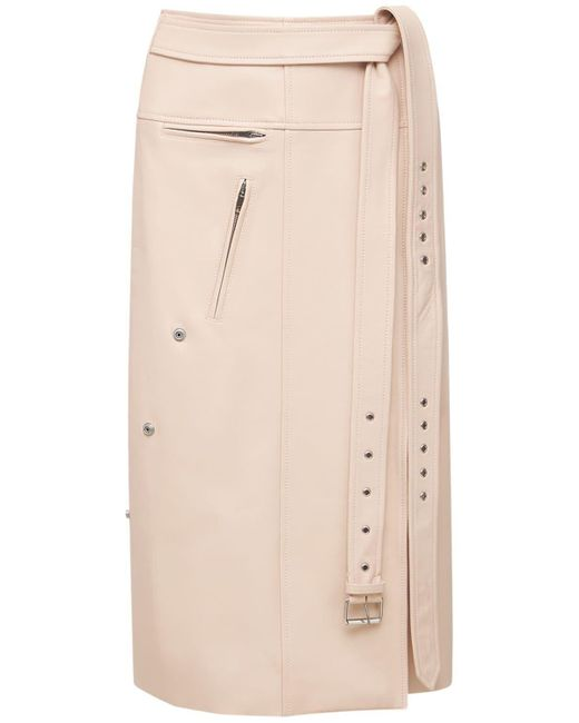 Alexander McQueen ベルテッドレザースカート Pink