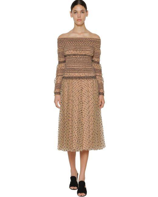 Короткое Платье Со Складками Self-Portrait, цвет: Natural