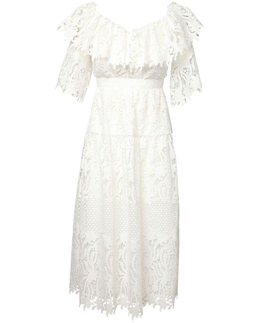 Кружевное Платье Из Хлопка Self-Portrait, цвет: White