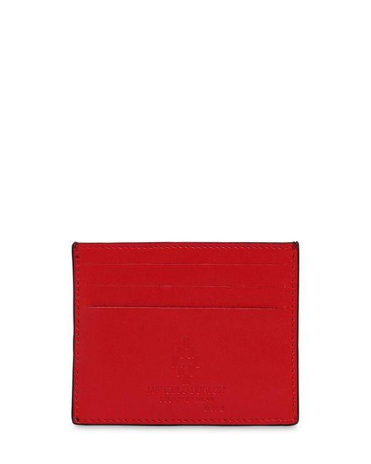 メンズ Marcelo Burlon レザーカードホルダー Red