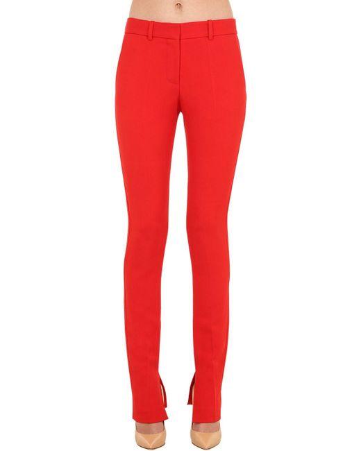 Victoria Beckham ストレッチビスコースブレンドツイルパンツ Red