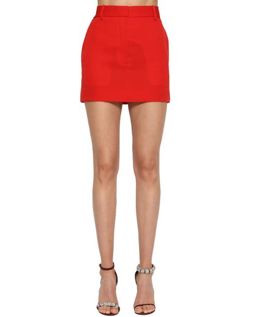 CALVIN KLEIN 205W39NYC ウールギャバジン ミニスカート Red