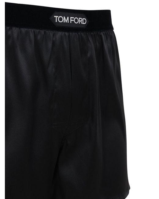 メンズ Tom Ford ストレッチシルクボクサーブリーフ Black