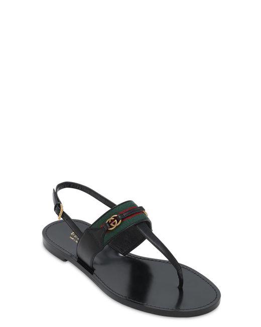 Gucci Siryo レザーソングサンダル 10mm Black