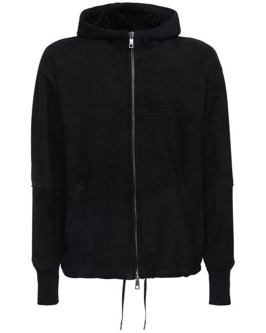 メンズ Giorgio Brato オーバーサイズフーデッドレザーシアリングコート Black