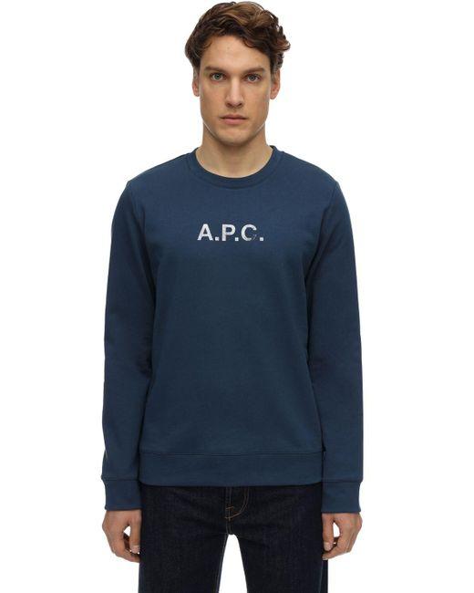 メンズ A.P.C. コットンスウェットシャツ Blue
