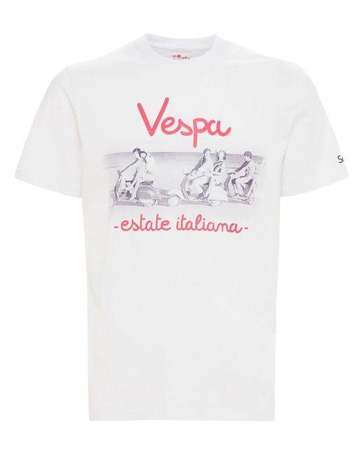 メンズ Mc2 Saint Barth Vespa コットンジャージーtシャツ White