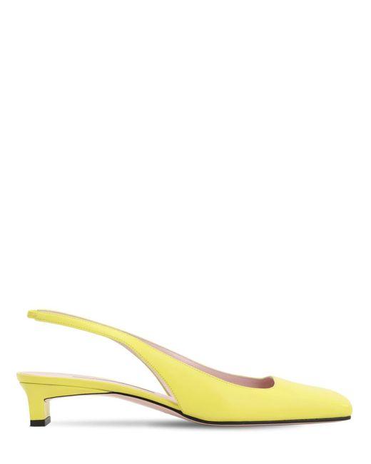 Emilia Wickstead 35mm レザースリングバックパンプス Yellow
