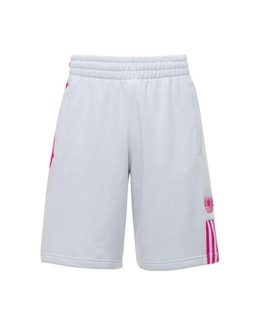 メンズ Adidas Originals 3d Trefoil 3 Stripes コットンスウェットハーフパンツ Blue