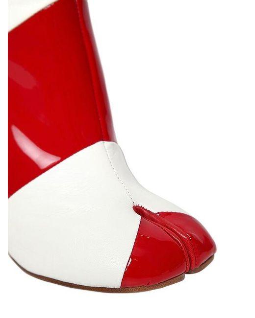 Полусапоги Из Кожи И Лакированной Кожи 100mm Maison Margiela, цвет: Red