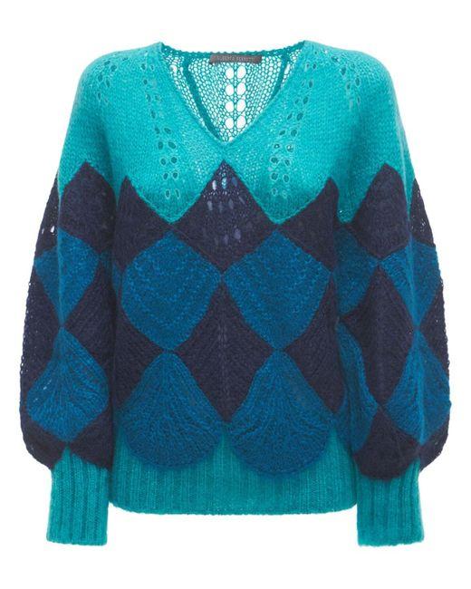 Alberta Ferretti オーバーサイズモヘアブレンドニットセーター Blue