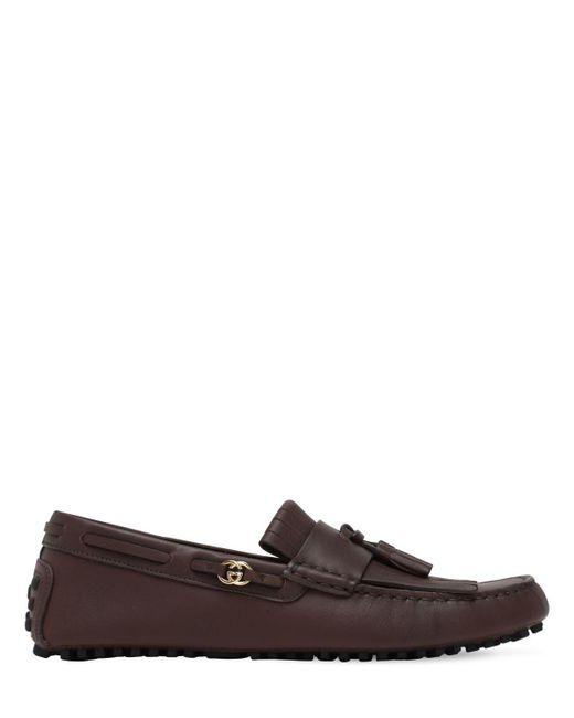 Кожаные Лоферы Gucci для него, цвет: Brown