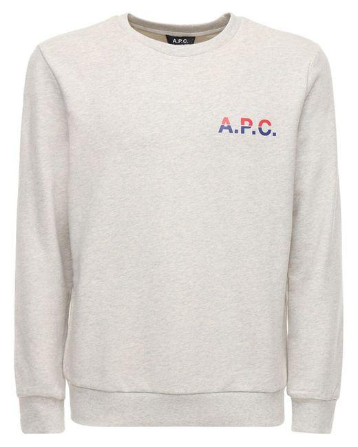 メンズ A.P.C. コットンスウェットシャツ Gray