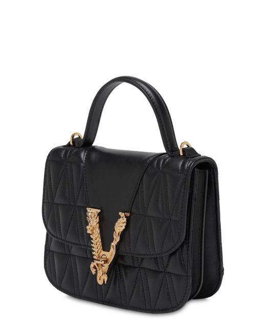 Versace Virtus キルテッドレザートップハンドルバッグ Black