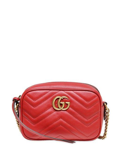 Gucci Gg Marmont 2.0 ミニ レザーカメラバッグ Red