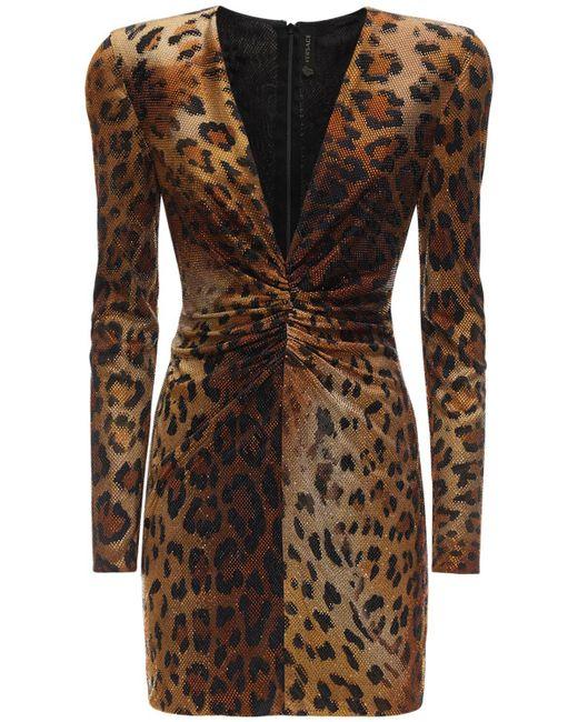 Versace ジャージーミニドレス Brown