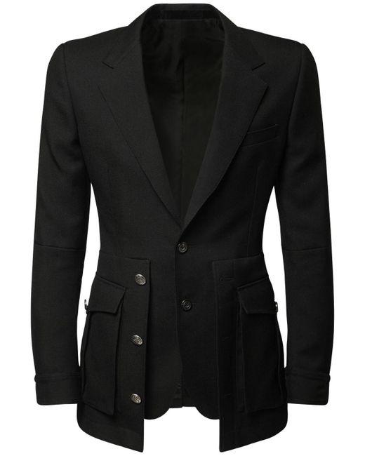 メンズ Alexander McQueen レイヤードウールジャケット Black