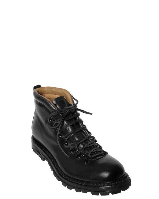 Officine Creative Black Polished Leather Boots for men