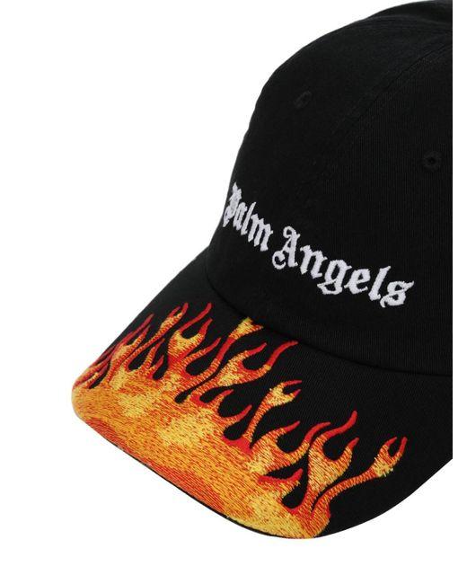 メンズ Palm Angels バーニング フレイムス キャップ Black