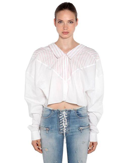 Хлопковая Рубашка Оверсайз В Полоску Unravel Project, цвет: White