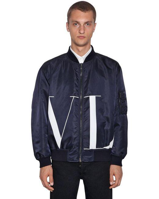 メンズ Valentino ナイロンボンバージャケット Blue
