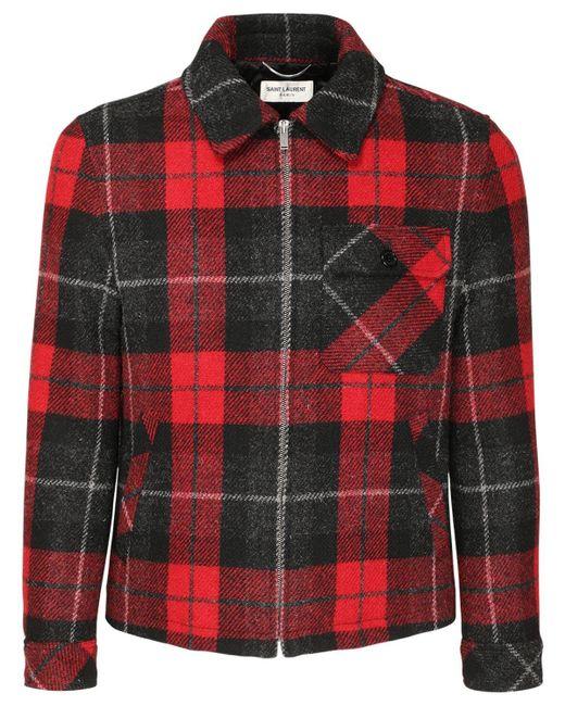 Шерстяной Пиджак В Клетку Saint Laurent для него, цвет: Red
