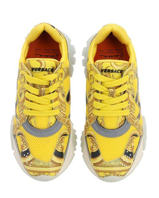 Versace Squalo フェイクレザー&メッシュ スニーカー 40mm Yellow