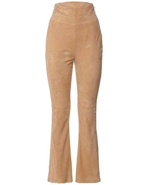 Pantaloni Vita Alta In Camoscio di Alberta Ferretti in Natural